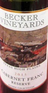 Becker Vineyards Cabernet Franc Reserve Texas High Plains 2015