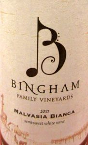 Bingham Family Vineyards Malvasia Bianca Texas High Plains Texas 2017