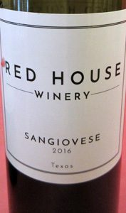 Red House Winery Sangiovese Texas 2016